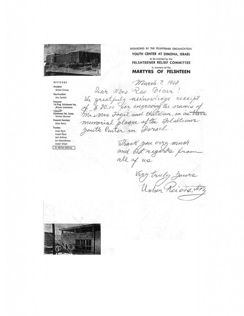 Letter from Felshteener Organization