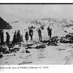 CADAVERS IN THE SNOW IN FELSHTIN, FEBRUARY 17, 1919., From Pogromchik, The Assassination of Simon Petlura, Saul S. Friedman, Hart Publishing Company, Inc., New York, New York 10012, 1976