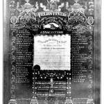 THE FRAMED CHARTER OF THE FELSHTIN SOCIETY. Designed by Hershl Oylshteyn (Harry Olstein) in 1905