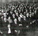 THE FELSHTIN LANDSMANSCHAFT (SOCIETY OF COUNTRYMEN) IN NEW YORK. The photograph was taken of an assembly in Beethoven Hall, especially for the book. (Photo by D.H. Simon, D'Arlene Studios, 375 Fifth Avenue, New York, N.Y.) Felshtin Yizkor book, 1937, ©1937 First Felshteener Benevolent Association.