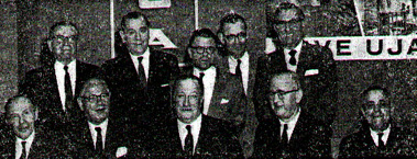 FELSHTIN RELIEF COMMITTEE Sitting from right to left: Y. Baum, past president; Herman Huberman, treasurer of the relief committee; Nathan Forman, president; Dr. M. Hoffman, trustee; William Shenkman, treasurer of the Society. Standing: Joseph Shneiderman, past president; Jack Cooper, Chairman of the landmanshaften (society) - committee counsel to the organization; Jack Hoffman, vice president; Usher Reisis, financial secretary; Alex Dardik, past president.