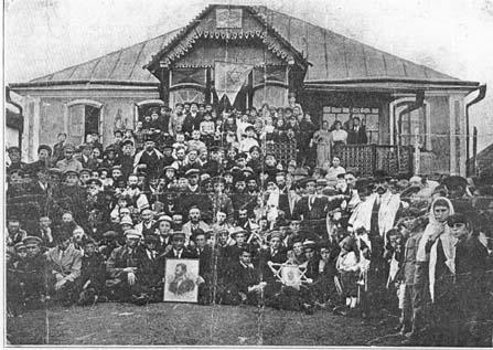 "FELSHTINER ZIONIST ORGANIZATION, 1917. The Felshtin Zionist Organization in 1917 after the ""Balfor Declaration."" Assembled by Monish's apartment on Shminatseres (the eighth day of the Sukkoth holiday). Felshtin Yizkor Book, 1937. ©1937 First Felshteener Benevolent Association."